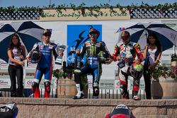 SuperBike Race #1 Podium: First place Josh Hayes, Second place Blake Young, Third place Danny Eslick