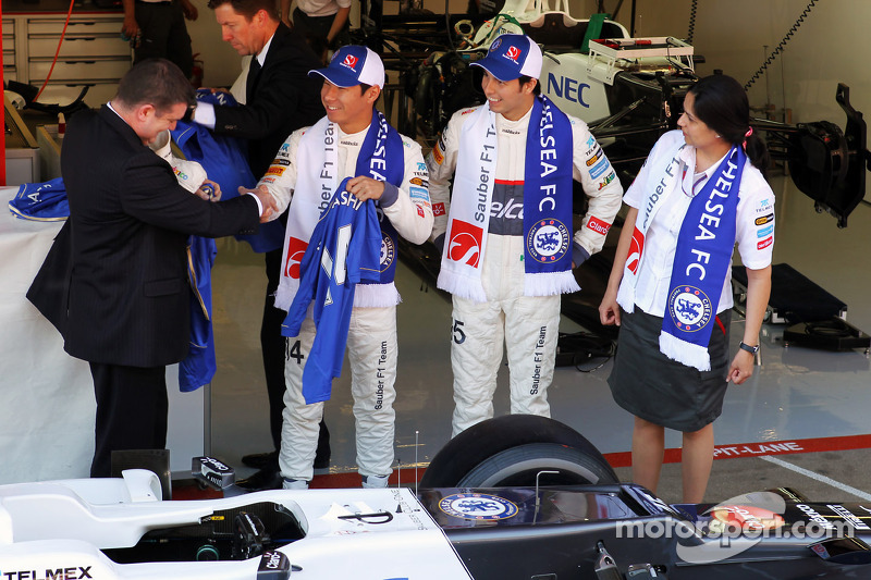 Ron Gouray, Chelsea Football Club CEO; Kamui Kobayashi, Sauber F1 Team; Sergio Perez, Sauber F1 Team; Monisha Kaltenborn, Sauber F1 Team Managing Director
