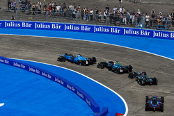 Sébastien Buemi, Renault e.Dams, leads Nelson Piquet Jr., NEXTEV TCR Formula E Team, and Adam Carroll, Jaguar Racing