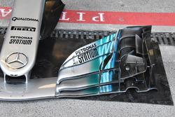 Mercedes AMG F1 W08, dettaglio dell'ala anteriore