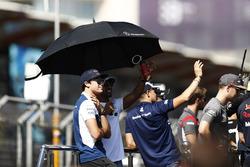 The drivers' parade Lance Stroll, Williams, Lewis Hamilton, Mercedes AMG F1, Marcus Ericsson, Sauber, Sergio Perez, Force India, Romain Grosjean, Haas F1 Team, Stoffel Vandoorne, McLaren