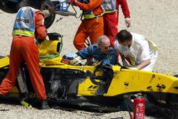 Takuma Sato, Jordan Honda after the crash