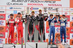 GT300 podium: race winners #11 Gainer Mercedes SLS AMG GT3: Katsuyuki Hiranaka, Bjorn Wirdheim, second place #50 Arnage Racing Ferrari 488 GT: Akihiro Tsuzuki, Morio Nitta, third place #25 Team Tsuchiya Toyota MC86: Takamitsu Matsui, Kenta Yamashita