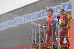 Podium: race winner Luiz Razia, second place Nathanael Berthon, and third place Davide Valsecchi