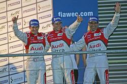 LMP1 podium: race winners Marc Gene, Loic Duval, Romain Dumas