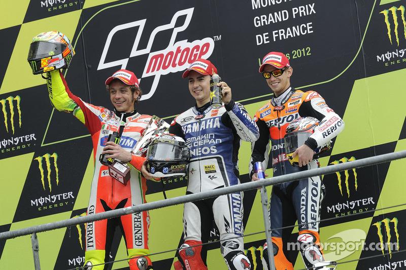 2012 : 1. Jorge Lorenzo, 2. Valentino Rossi, 3. Casey Stoner