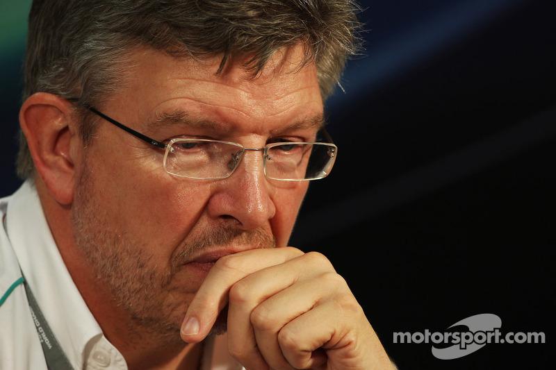 Ross Brawn, Mercedes AMG F1 Team Principal in de FIA persconferentie