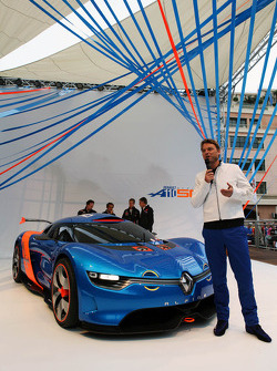 Laurens Van Den Acker, Renault Industrial Design Director unveils the Renault Alpine A110-50 Concept car on the Red Bull Energy Station