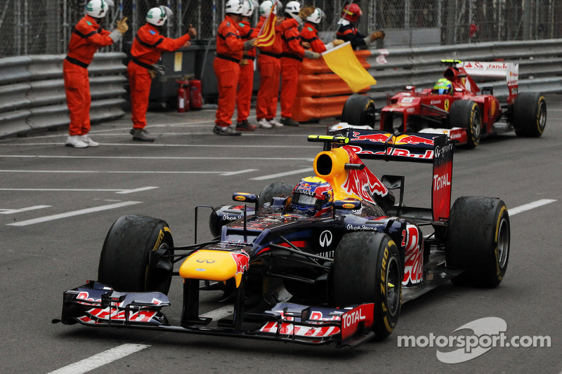 Race winner Mark Webber, Red Bull Racing celebrates at the end of the race