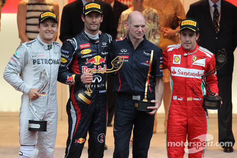 2nd place Nico Rosberg, Mercedes AMG Petronas with 1st place Mark Webber, Red Bull Racing, Adrian Newey, Scuderia Ferrari