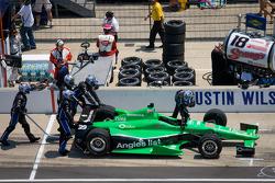 Car of Bryan Clauson, Sarah Fisher Hartman Racing Honda pushed on pit road
