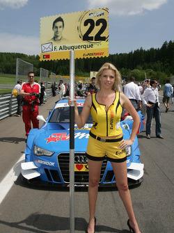 Grid girl of Filipe Albuquerque, Audi Sport Team Rosberg, Audi A5 DTM