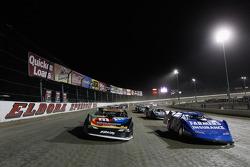 Kasey Kahne and Kyle Busch follow the pace car