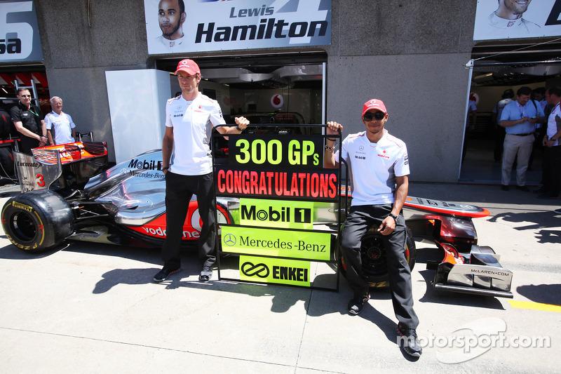 Jenson Button, McLaren Mercedes and Lewis Hamilton, McLaren Mercedes celebrate 300 Grands Prix with Mobil, Mercedes-Benz, and Enkei