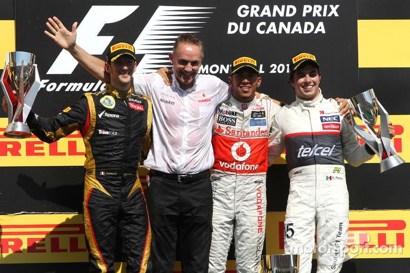 Romain Grosjean, Lotus F1 Team, Lewis Hamilton, McLaren Mercedes Mercedes en Sergio Perez, Sauber F1 Team