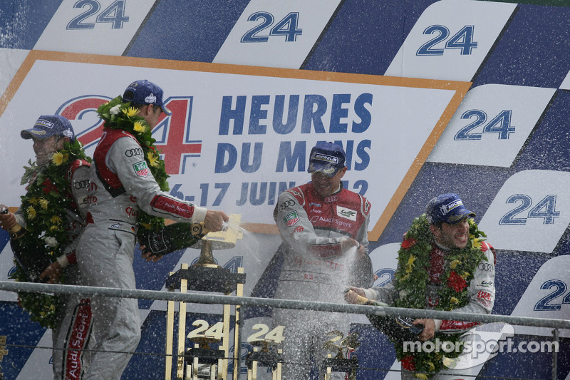 LMP1 podium: champagne for all