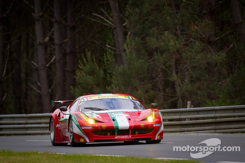 The winning Ferrari 458 Italia of Fisichella, Bruni and Vilander in the Le Mans 24 Hours.