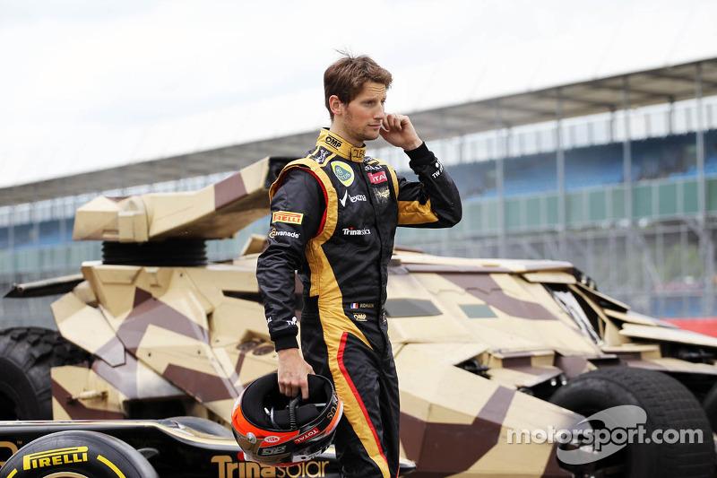 Romain Grosjean, Lotus F1 Team with the Tumbler vehicle from the Batman movie The Dark Night Rises