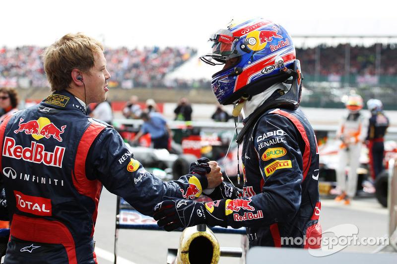 Race winner Mark Webber, Red Bull Racing celebrates in parc ferme with team mate Sebastian Vettel, Red Bull Racing