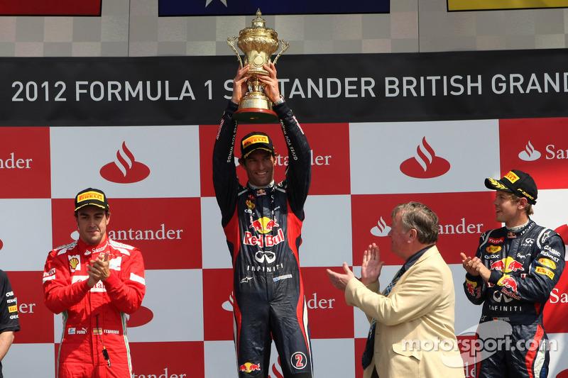 Podio de F1 en Silverstone 2012: 1. Mark Webber, 2. Fernando Alonso, 3. Sebastian Vettel