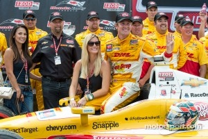 Race winner Ryan Hunter-Reay celebrates with his team
