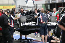 The car of Valtteri Bottas, Williams F1 Team after his chrash