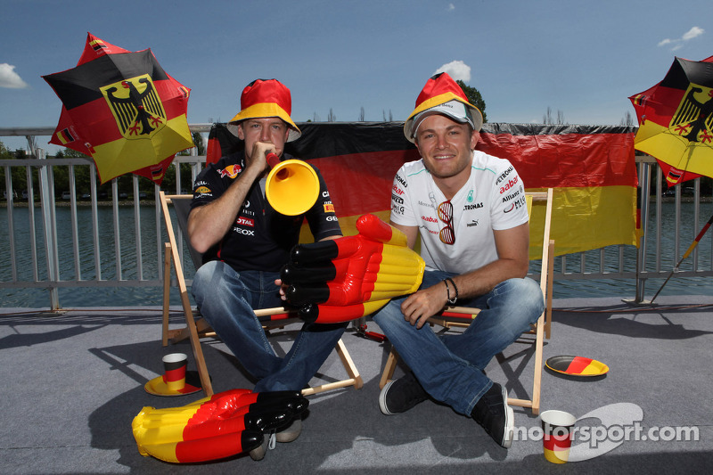 Voorbeschouwing Grote Prijs van Duitsland, Sebastian Vettel, Red Bull Racing en Nico Rosberg, Mercedes AMG Petronas (tijdens weekend GP van Canada)