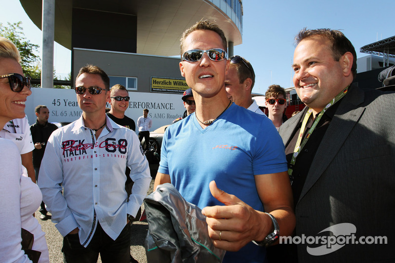 Michael Schumacher, Mercedes AMG F1 with fans