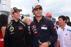 Romain Grosjean, Lotus F1 Team y Jean-Eric Vergne, Scuderia Toro Rosso