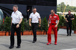 Ross Brawn, Mercedes AMG F1 Team Principal;  Martin Whitmarsh, McLaren Chief Executive Officer; Stefano Domenicali, Ferrari General Director; and Eric Boullier, Lotus F1 Team Principal leave a meeting with Bernie Ecclestone, CEO Formula One Group