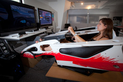 Cyndie Allemann in a racing simulator