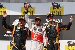 1st place Lewis Hamilton, McLaren Mercedes with 2nd place Kimi Raikkonen, Lotus Renault F1 Team and 3rd place Romain Grosjean, Lotus Renault F1 Team