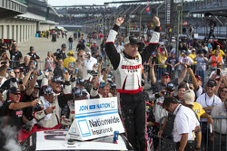 Victory lane: Brad Keselowski celebrates