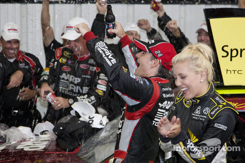 Victory lane: race winner Jeff Gordon, Hendrick Motorsports Chevrolet after rain cancellation