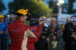 Ryan Dalziel sprays the champagne