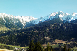 A photo taken by Peter Sauber of the Signina group of mountains from his weekend cottage in Switzerland