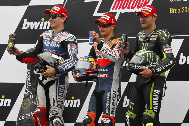 Peraih podium: Dani Pedrosa, Jorge Lorenzo dan Cal Crutchlow.