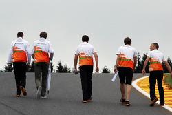 Nico Hulkenberg, Sahara Force India F1 walks the circuit and climbs Eau Rouge