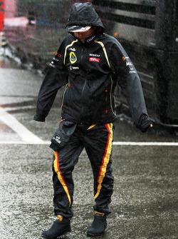 Kimi Raikkonen, Lotus F1 Team during a heavy rain shower