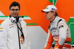 Nico Hulkenberg, Sahara Force India F1, with Bradley Joyce, Sahara Force India F1 Race Engineer