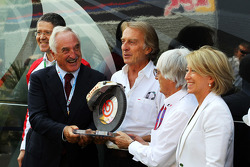 Alberto Bombassei, Brembo CEO presents Bernie Ecclestone, CEO Formula One Group, with a special Brembo brake to commemorate the 50th anniversary of the company
