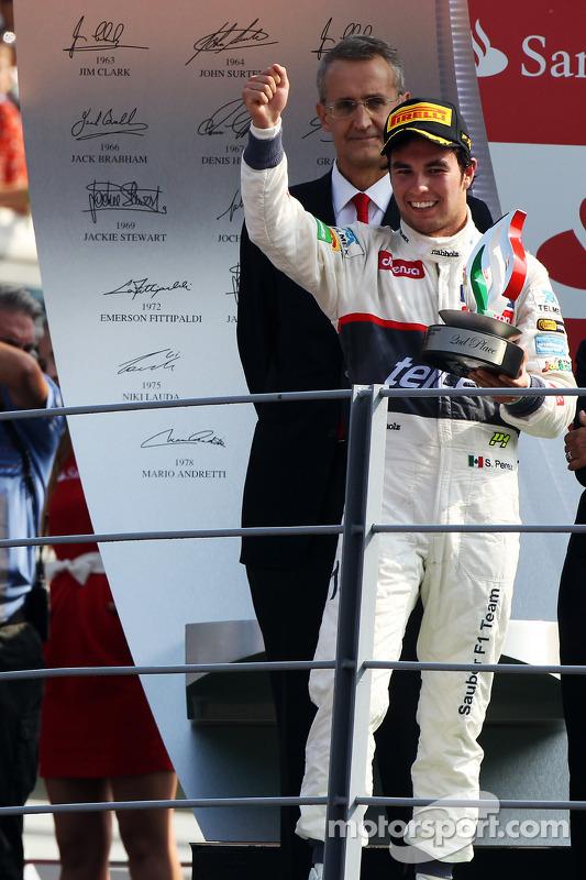 Podium: second place Sergio Perez, Sauber