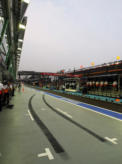 Rubber laid down in the Sahara Force India F1 Team pit box