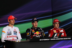 FIA press conference: race winner Sebastian Vettel, Red Bull Racing, second place Jenson Button, McLaren Mercedes, third place Fernando Alonso, Scuderia Ferrari