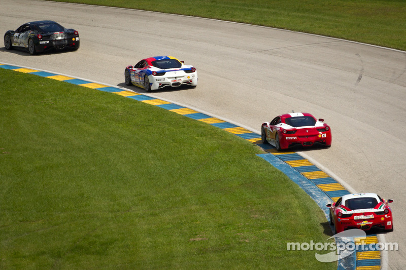 #14 Ferrari of San Diego 458CS: Brent Lawrence leads a goup of cars