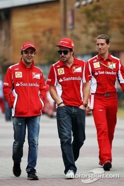 Felipe Massa, Ferrari with team mate Fernando Alonso, Ferrari
