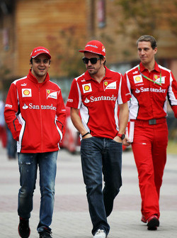 Felipe Massa, Ferrari with team mate Fernando Alonso, Ferrari