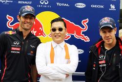 Psy, Rapper famous for Gangnam Style with Mark Webber, Red Bull Racing, and Sebastian Vettel, Red Bull Racing