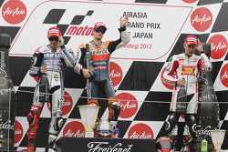 Podium: winner Dani Pedrosa, Repsol Honda Team, second place Jorge Lorenzo, Yamaha Factory Racing, third place Alvaro Bautista, Honda Gresini