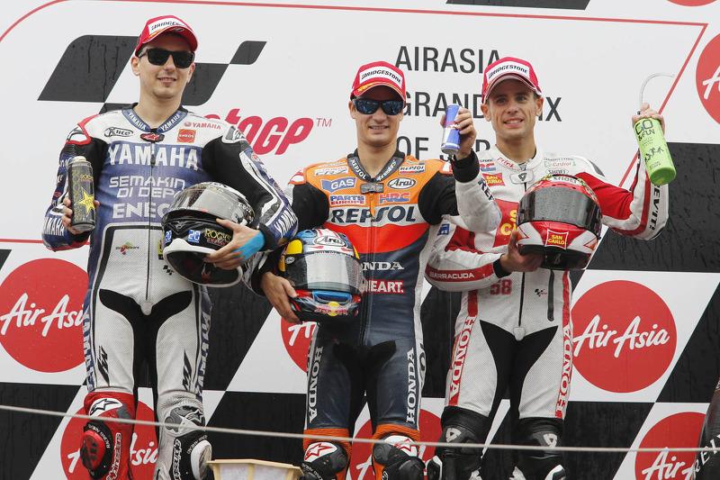 2012: 1. Dani Pedrosa, 2. Jorge Lorenzo, 3. Alvaro Bautista